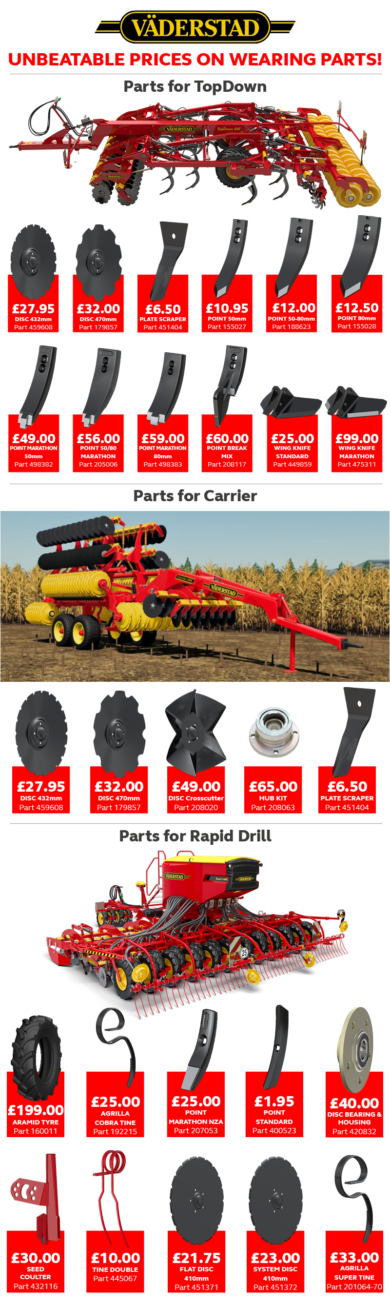 unbeatable prices on Vaderstad wearing parts