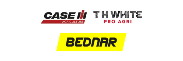 t h white pro agri, case ih and bednar logo lock up