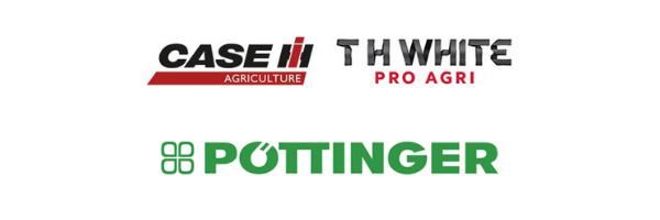 t h white pro agri, case IH and pottinger logo lock up